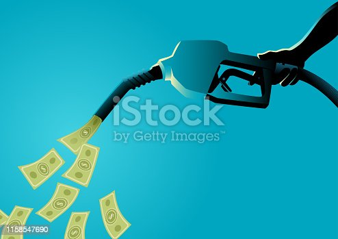 Vector illustration of a hand holding gasoline fuel pump pouring money