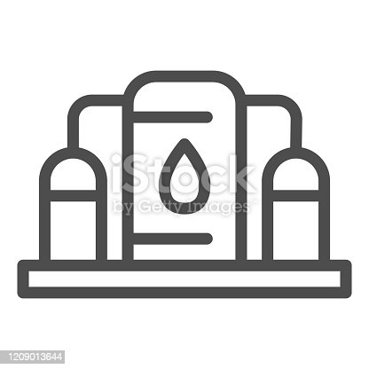 istock Fuel storage line icon. Underground reservoir system, flammable gas tanks station. Oil industry vector design concept, outline style pictogram on white background. 1209013644