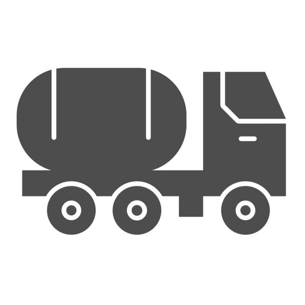 ilustrações de stock, clip art, desenhos animados e ícones de fuel tank on truck solid icon. chemical freight transport. oil industry vector design concept, glyph style pictogram on white background. - inflamável