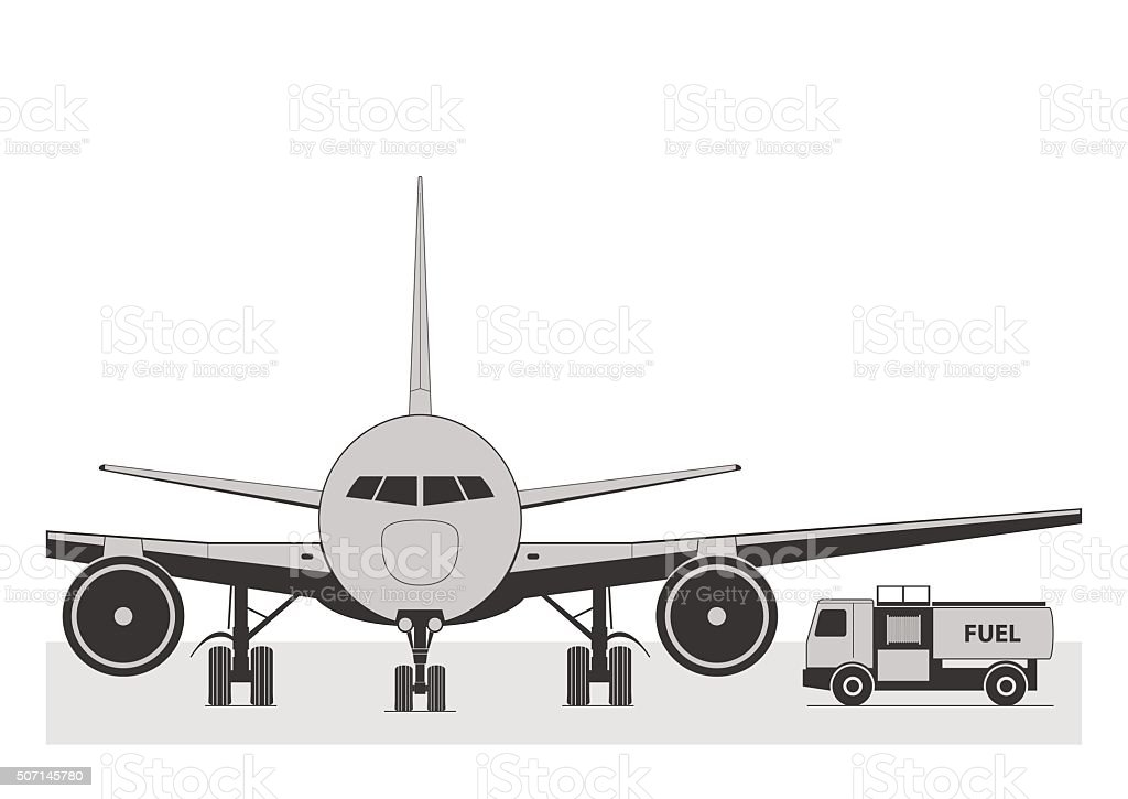 Fueling the plane. vector art illustration