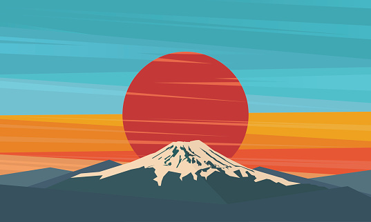 Fuji against red sunset