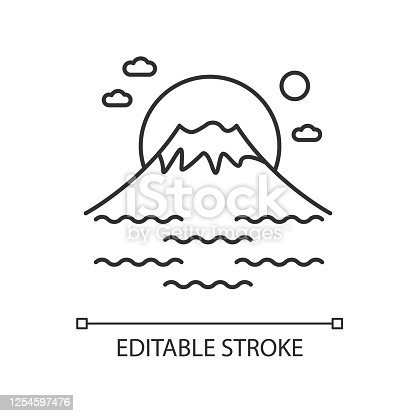 Fuji mount pixel perfect linear icon. Tokyo mountain with sunrise. Volcano with sea and sunset. Thin line customizable illustration. Contour symbol. Vector isolated outline drawing. Editable stroke