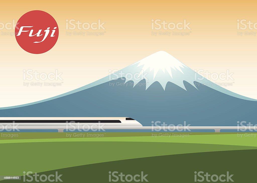 fuji mountain and  Shinkansen train sun set. vector illustration vector art illustration
