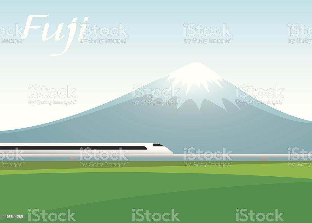 fuji mountain and  Shinkansen train. vector illustration vector art illustration