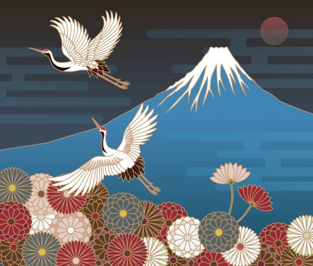 fuji mountain, cranes and chrysanthemum flowers, japanese traditional pattern - crane bird stock illustrations