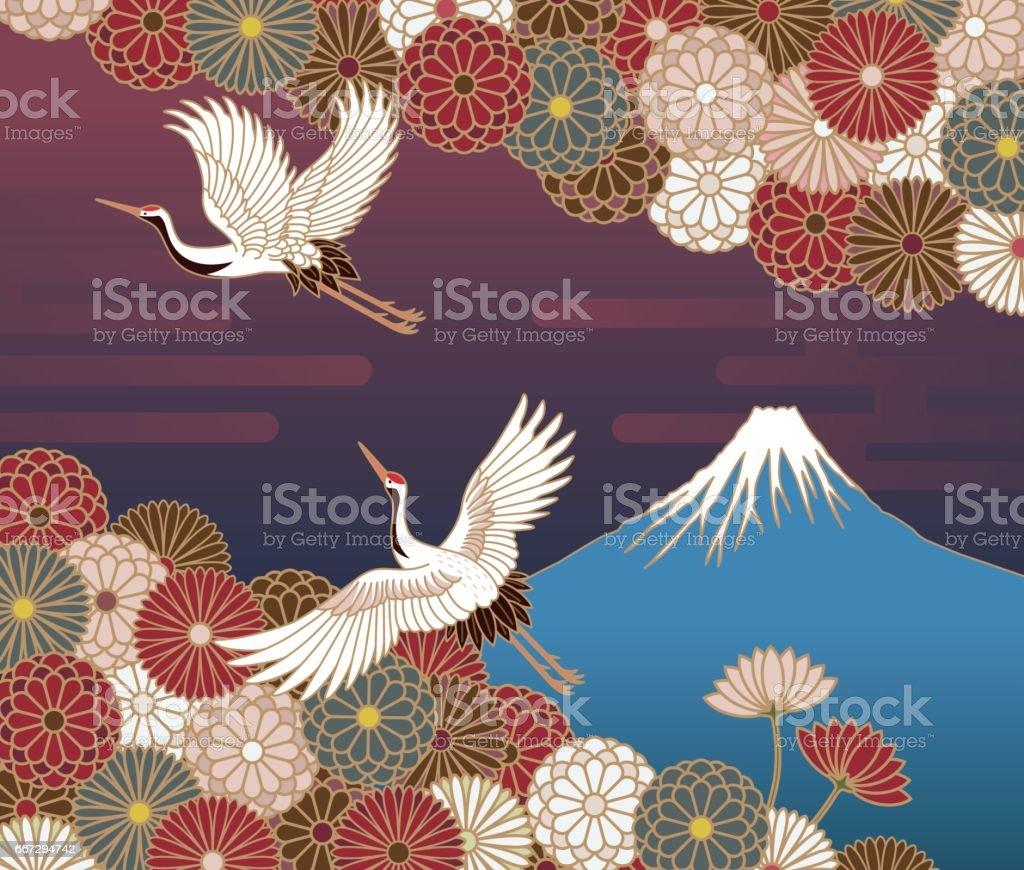 Fuji mountain, Cranes and Chrysanthemum flowers, Japanese traditional pattern vector art illustration