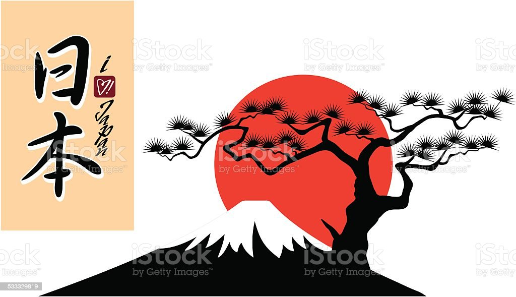 Fuji Mountain Shape with 'Japan' Calligraphy and 'I love Japan' Script vector art illustration