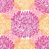 Fuji Mum, Dalhai, Flower Seamless Vector Pattern - Ink Drawing with Watercolor Texture