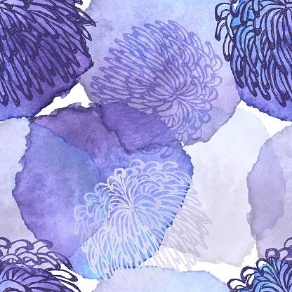 Fuji Mum, Dalhia, Flower Seamless Vector Pattern - Ink Drawing with Watercolor Texture