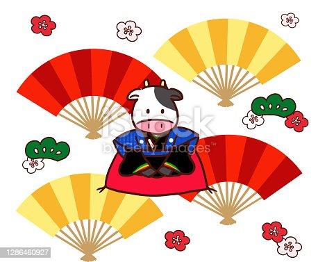 Fukusuke cow and folding fan