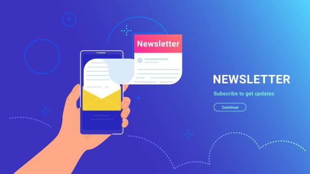 illustrazioni stock, clip art, cartoni animati e icone di tendenza di cv fulfilling and sending online using mobile app - newsletter