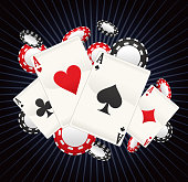 Full Ace Poker with stripped black background vector illustration cartoon, with cards and coins poker splash.
