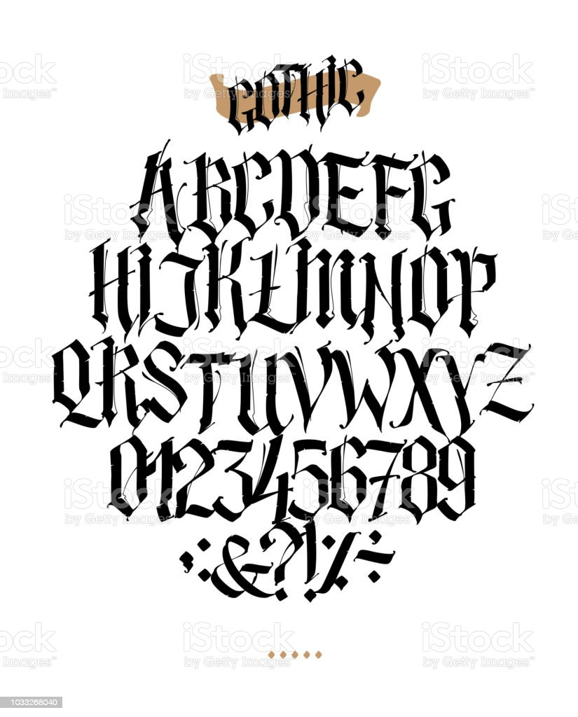 Full Alphabet In The Gothic Style Vector Letters And Symbols On A