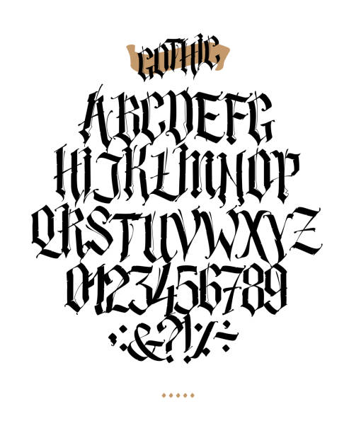 Full alphabet in the Gothic style. Vector. Letters and symbols on a white background. Calligraphy and lettering. Medieval Latin letters. Individual letters. Elegant font for tattoo. A set for inspiration. Full alphabet in the Gothic style. Vector. Letters and symbols on a white background. Calligraphy and lettering. Medieval Latin letters. Individual letters. Elegant font for tattoo. A set for inspiration. goth stock illustrations
