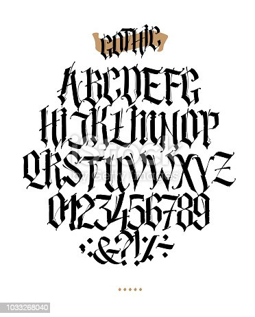 Full Alphabet In The Gothic Style Vector Letters And Symbols On A White Background Calligraphy Lettering Medieval Latin Individual