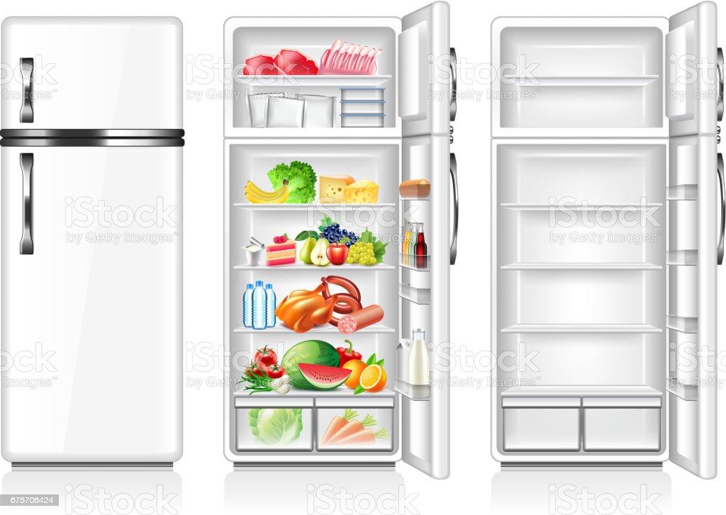 充分和空冰箱上白色向量孤立 免版稅 充分和空冰箱上白色向量孤立 向量插圖及更多 健康食物 圖片