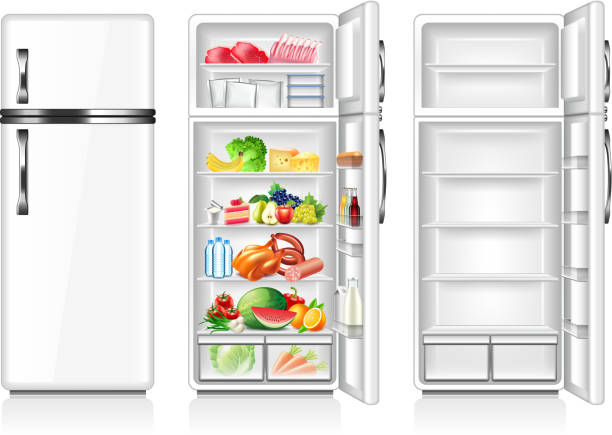 Full and empty fridge isolated on white vector Full and empty fridge isolated on white photo-realistic vector illustration refrigerator stock illustrations