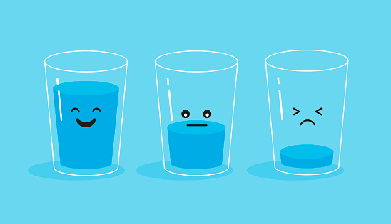 Funny and sad glass of water. Full and empty glass. Drink more water concept. Vector illustration isolated on blue background.