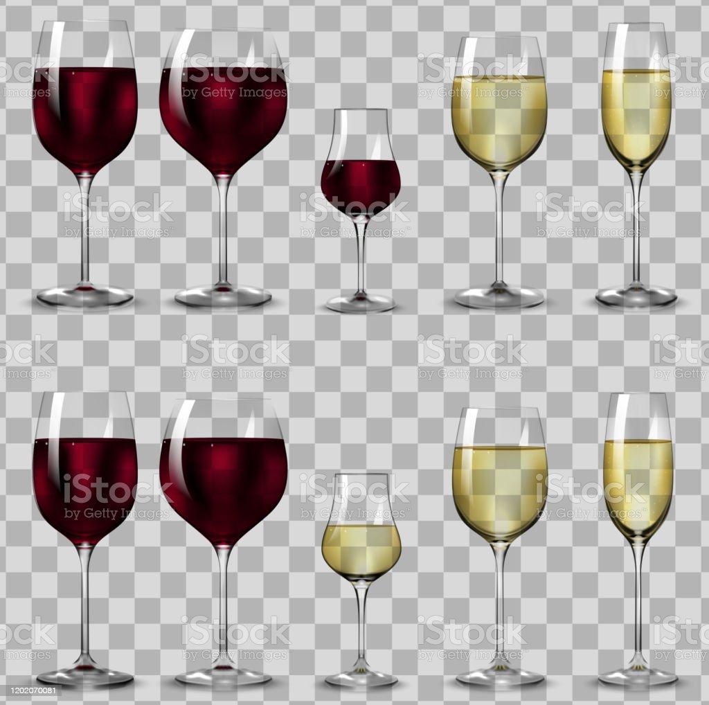 Verres Pleins Et Vides Pour Le Vin Blanc Et Rouge Vecteurs libres de droits et plus d'images vectorielles de Alcool