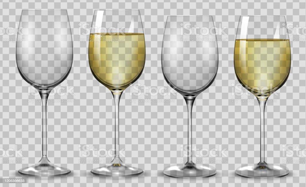 Verres De Vin Blanc Pleins Et Vides Vecteur Vecteurs libres