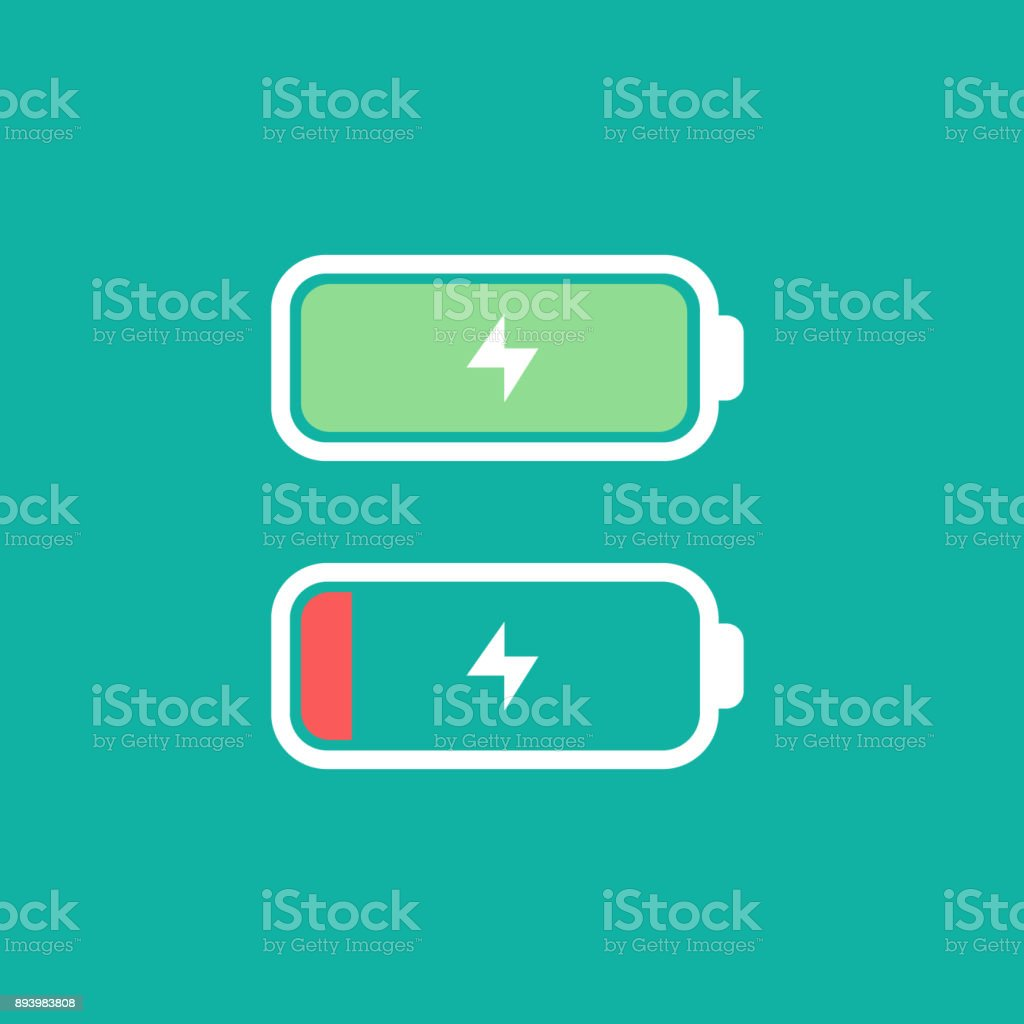 Full and low battery level concept. Vectro icon. Simple flat design. Battery with thunder icon vector art illustration