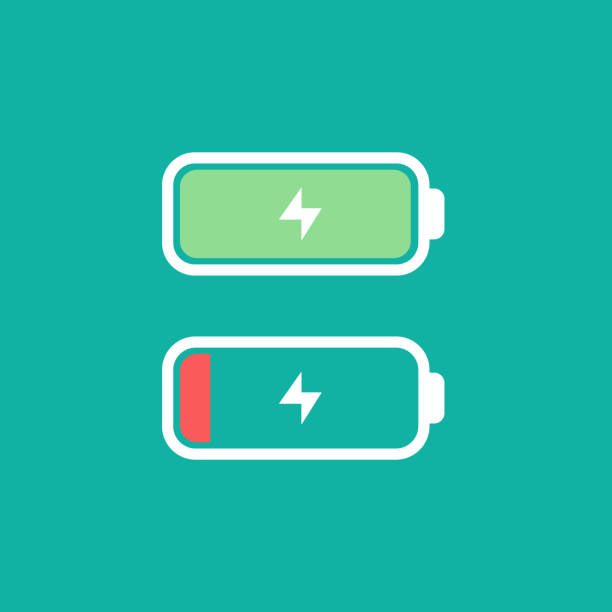 Full and low battery level concept. Vectro icon. Simple flat design. Battery with thunder icon Full and low battery level concept. Vectro illustration icon. Simple flat design. Battery with thunder icon full stock illustrations