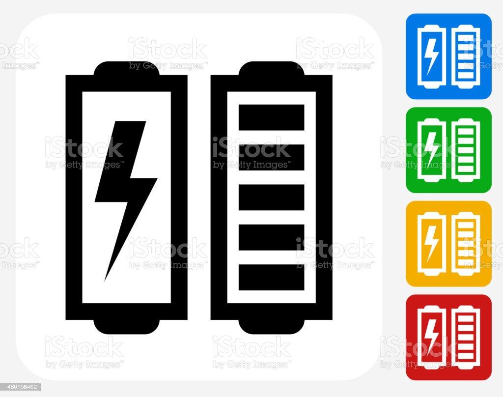 Full Battery Icon Flat Graphic Design vector art illustration