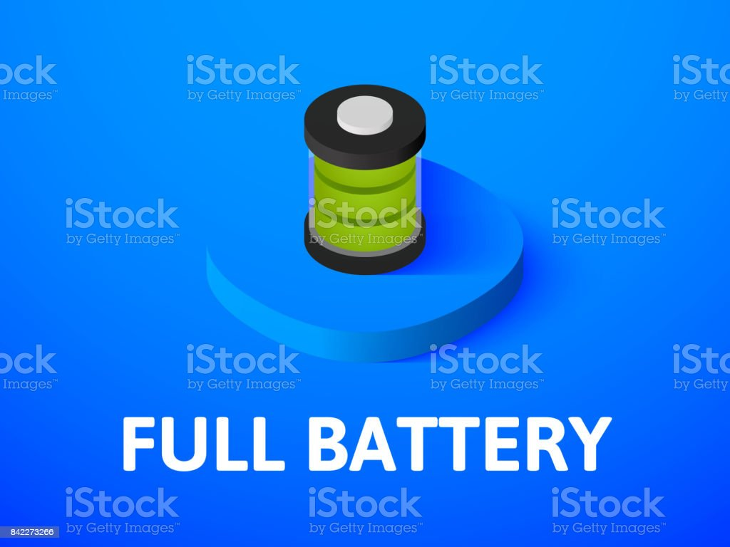 Full battery isometric icon, isolated on color background vector art illustration