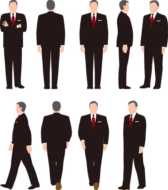 Full body illustration of a middle aged business woman. Various movements Business people lateral surface stock illustrations