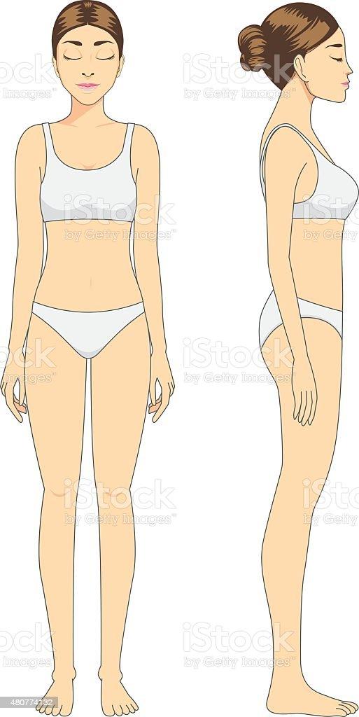 Full body woman standing vector art illustration