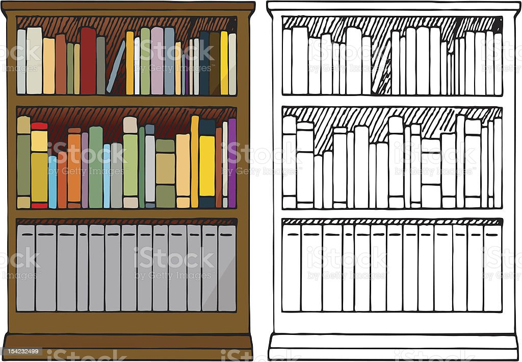 Full Bookshelf royalty-free full bookshelf stock vector art & more images of blank