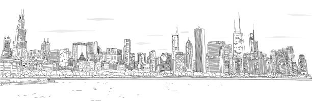 Full Chicago Skyline Drawing Hand drawn vector illustration. Panorama of the Chicago skyline. Detailed ink look and feel. Black and white. chicago stock illustrations