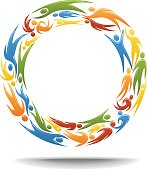 Vectored figures flowing round in a circle. This format can be blown up to any size without loss of quality.