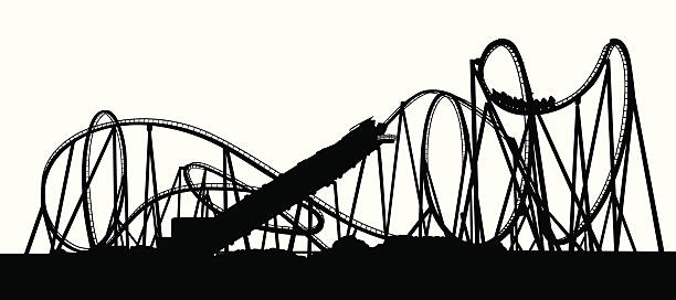 full coaster vector silhouette - roller coaster stock illustrations