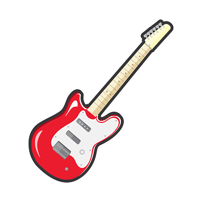 Full color electric red guitar music instrument icon