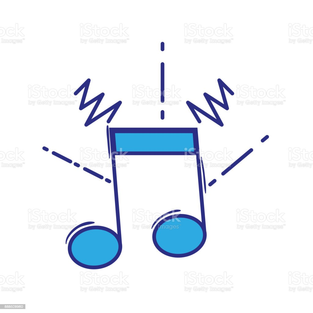 full color musical note sign to rhythm sound vector art illustration
