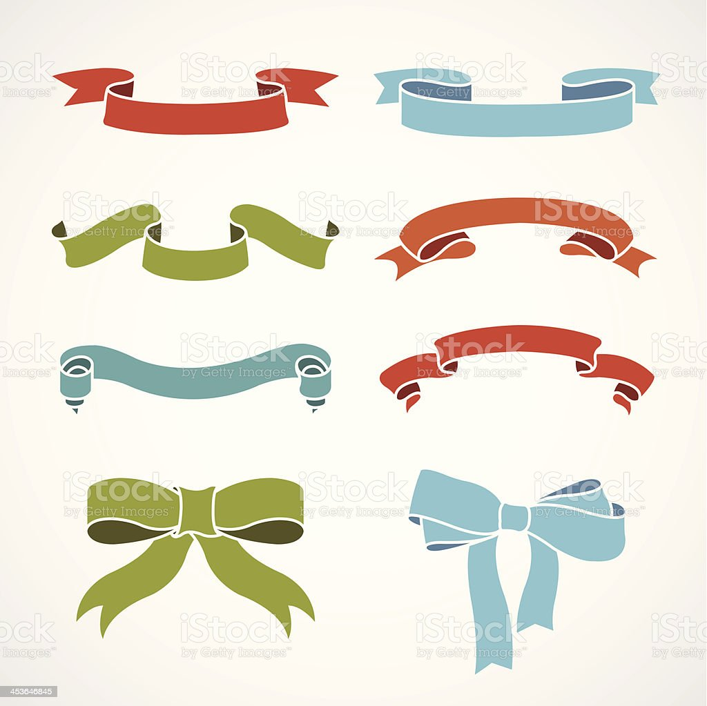 full color set of vintage ribbons royalty-free stock vector art