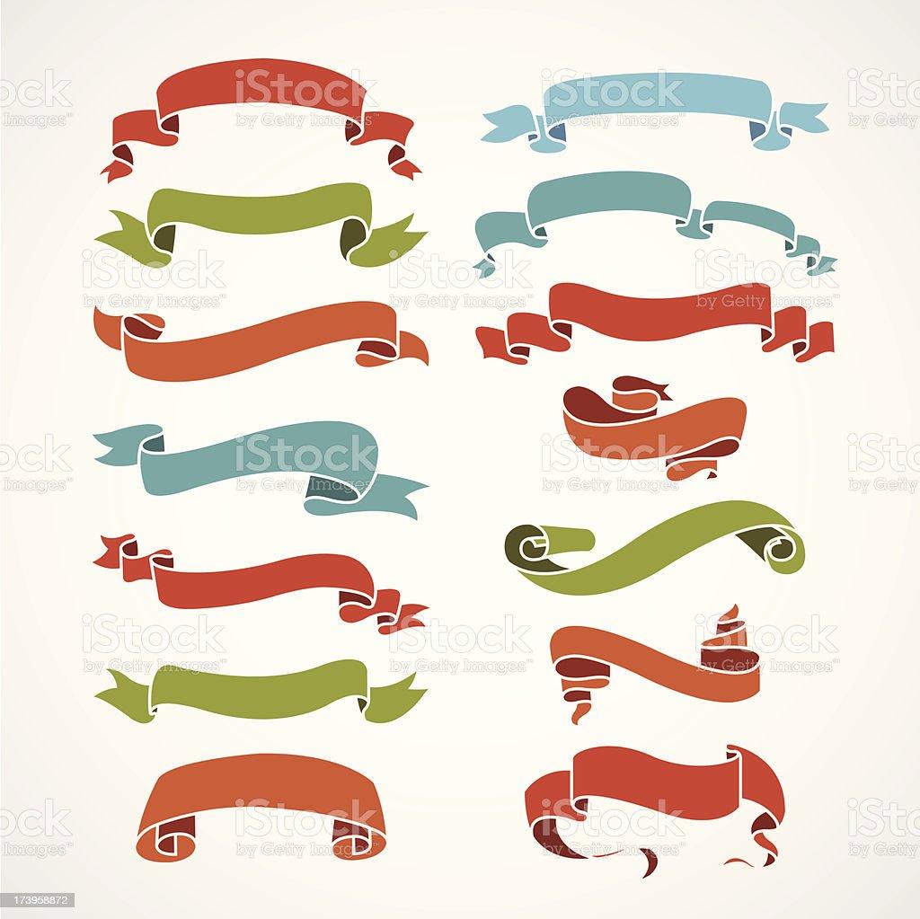full color set or vintage ribbons vector art illustration