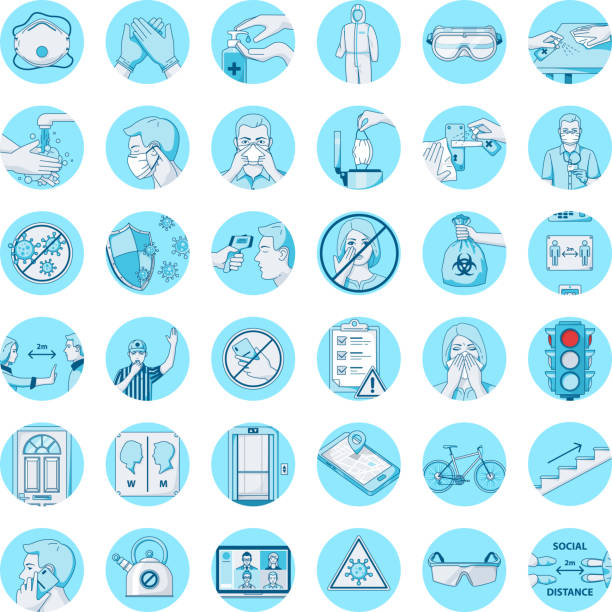 full coronavirus covid-19 icon set blaue grafik - ffp2 maske stock-grafiken, -clipart, -cartoons und -symbole