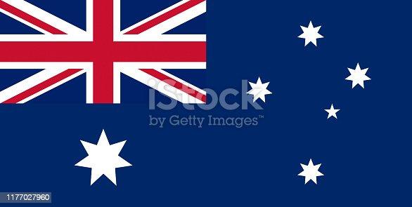 Full frame of Australian flag. Horizontal composition.