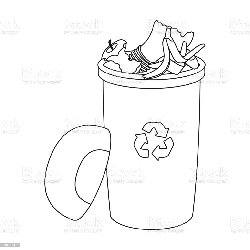 Une poubelle pleine avec les déchets. Déchets et écologie unique icône dans contour style vecteur symbole stock illustration web. - clipart vectoriel de Banane - Fruit exotique libre de droits