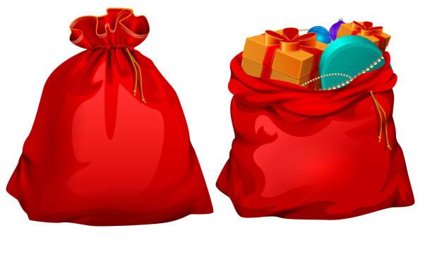 stockillustraties, clipart, cartoons en iconen met volledige cadeau open en gesloten santa claus rode tas - zak tas
