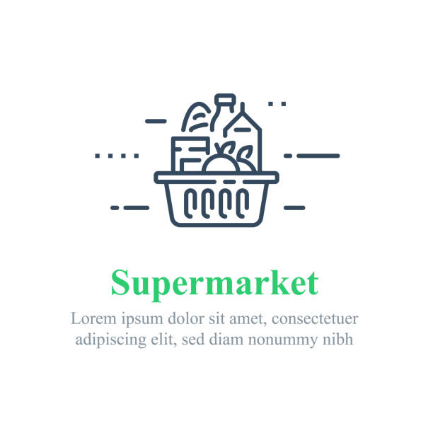 Full grocery basket, supermarket special offer, food delivery