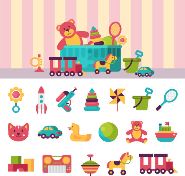 full kid toys in boxes for kids play childhood babyroom container vector illustration - zabawka stock illustrations