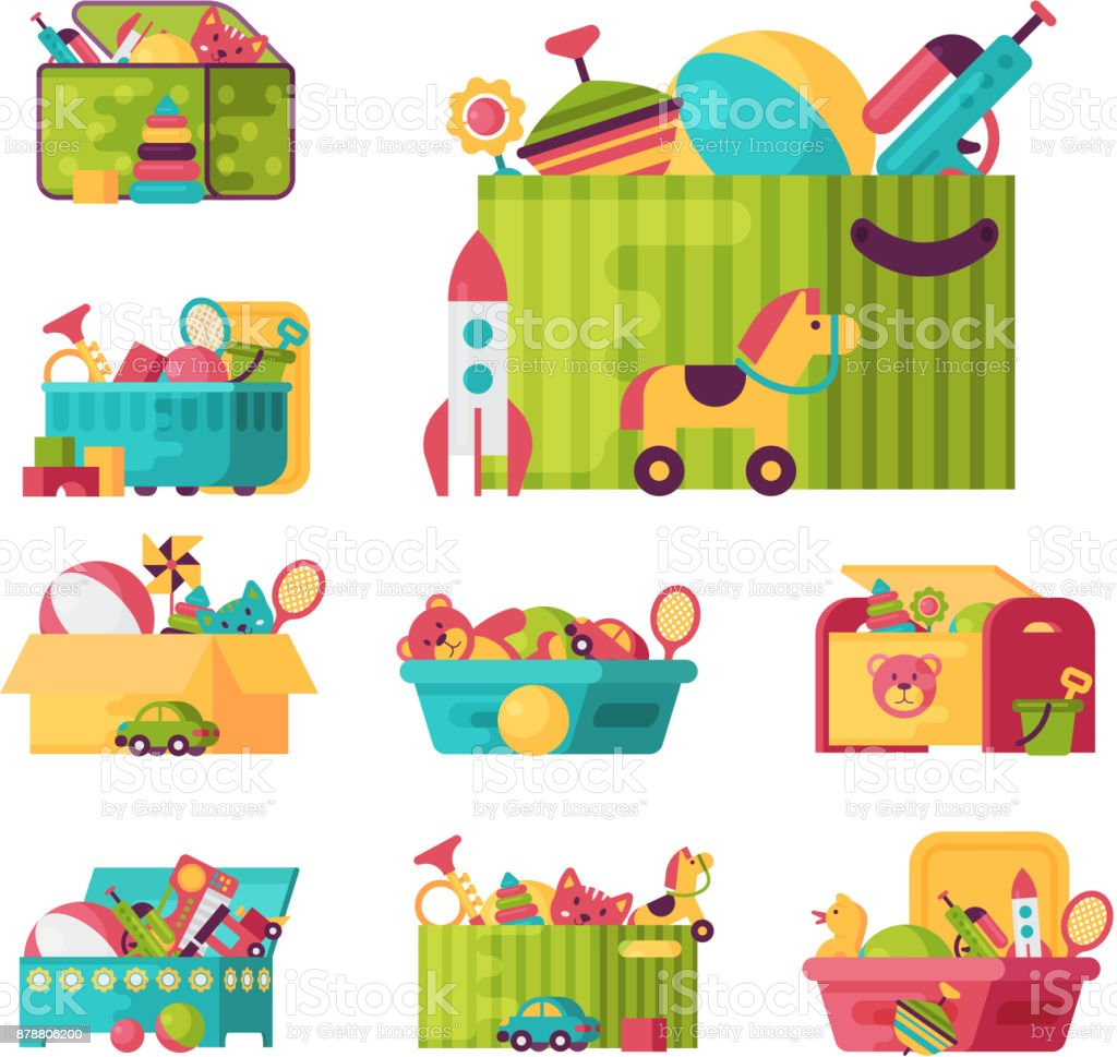 Full kid toys in boxes for kids play childhood babyroom container vector illustration royalty-free full kid toys in boxes for kids play childhood babyroom container vector illustration stock illustration - download image now