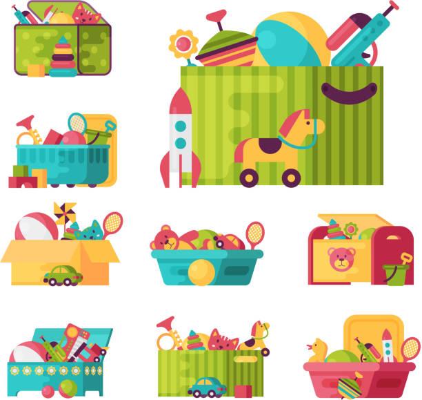 volle kid spielzeug in kisten für kinder spielen kindheit hintergrundgeräusche container-vektor-illustration - kinderspielzeug stock-grafiken, -clipart, -cartoons und -symbole