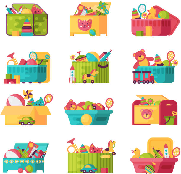 Full kid toys in boxes for kids play childhood babyroom container vector illustration Full kid toys in boxes for kids play childhood babyroom container vector illustration. Cardboard children playroom stuffed stock illustrations