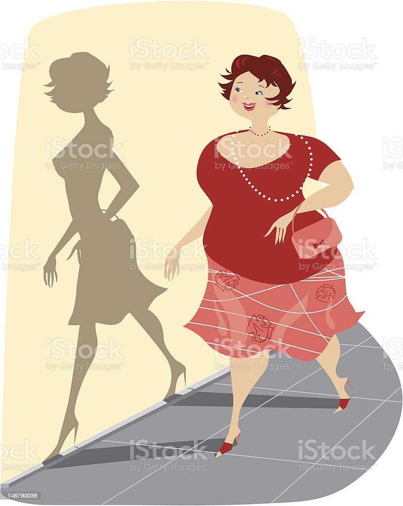 Full Lady and her slim shadow vector art illustration