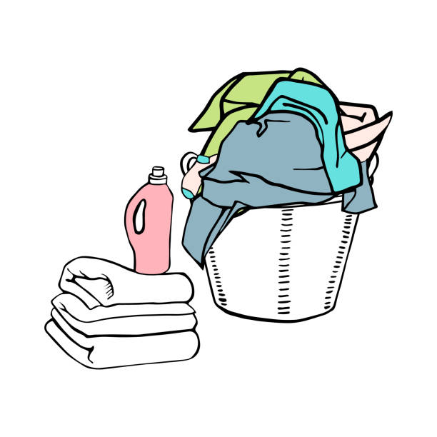 Full laundry basket with clothes, textiles and bed linen. Clean sheets and a detergent. Full laundry basket with clothes, textiles and bed linen. Clean sheets and a detergent. laundry basket stock illustrations