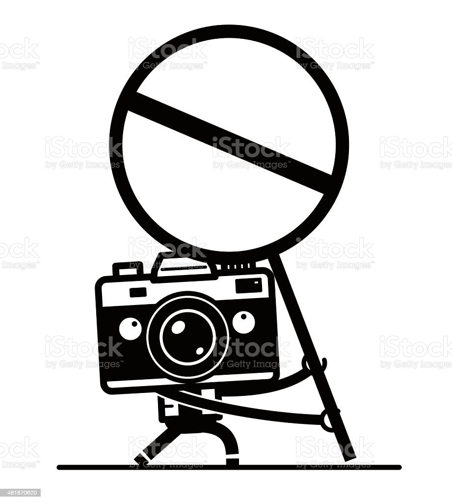 Full length Camera Character holding a empty prohibition sign vector art illustration